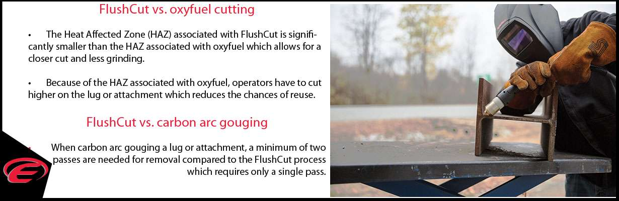 Reduce time consuming and costly grinding  Close cutting for the removal of lugs and other attachments has typically been performed via oxyfuel cutting or carbon arc gouging, followed by labor intensive grinding. FlushCut for Powermax plasma systems provides a new, more efficient process for challenging removal applications